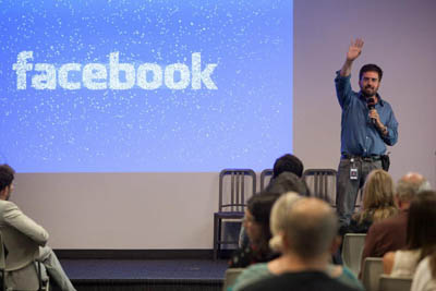 """Arturo Bejar, a Facebook engineer who has been leading its """"social reporting"""" project, speaking at Facebook's second Compassion Research Day on July 11."""