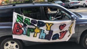 Amber's friends joined in a birthday car parade.