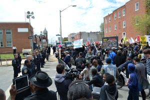 A protest at the Baltimore Police Department following Freddie Gray's death.