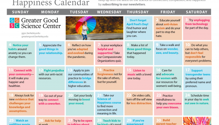Your Happiness Calendar for April 2021