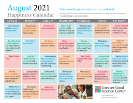 Your Happiness Calendar for August 2021