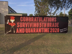 A sign at RL Stevenson Elementary School in Burbank, California.