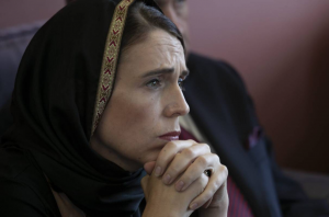 New Zealand Prime Minister Jacinda Ardern wears a hijab after the Christchurch attack.