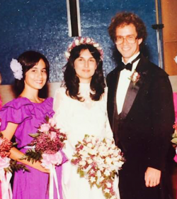 The author's partner, Michelle, age 13, at her parents' wedding in Berkeley, California.