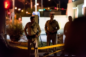 Police guard the location of the Route 91 Harvest Festival in Las Vegas where a mass shooting took place in October 2017.