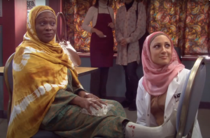 """A scene from the Muslim-Canadian sitcom """"Little Mosque on the Prairie."""""""