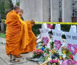 Mourners visit the Tree of Life synagogue in Pittsburgh, PA.