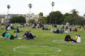 Social distancing circles at Mission Dolores Park in San Francisco.