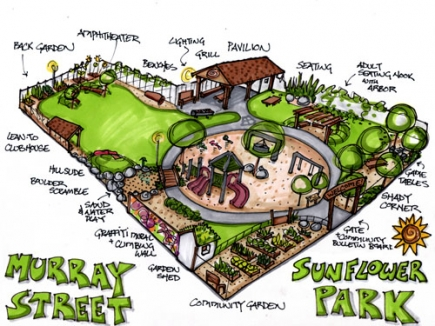 "The design for Sunflower Park, developed through the BNP's ""Design Your Own Park"" project. The BNP is now helping to build it, in collaboration with the city and the United Way of Broome County."