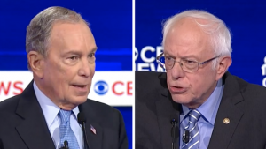 In the Democratic primary debates, Michael Bloomberg (left) has represented a merit-based vision of a good society, while Bernie Sanders (right) has championed redistributive policies.