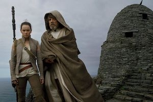 Daisy Ridley and Mark Hamill in <em>Star Wars: The Last Jedi</em>.