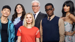 Jason, Janet, Eleanor, Michael, Chidi, and Tahani.