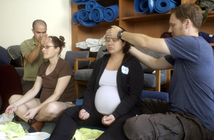Couples participating in Nancy Bardacke's Mindfulness-Based Childbirth and Parenting program.