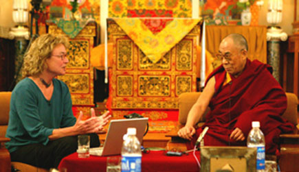 The Dalai Lama talks with neuroscientist Helen Neville at his residence in Dharamsala, India, as part of the 12th Mind & Life conference.