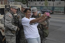 A selfie with National Guard soldiers in Baltimore on May 1, 2015.
