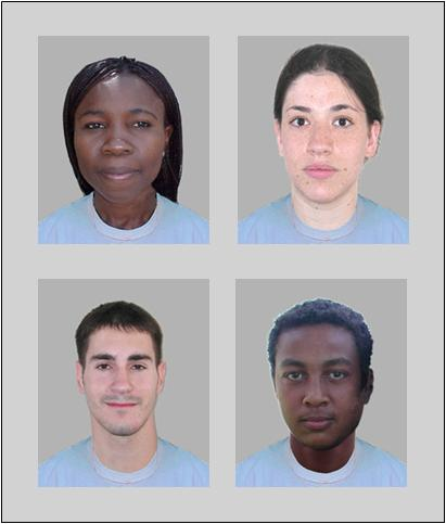 An example of pairs of photographs used by researchers in their study of racial preference