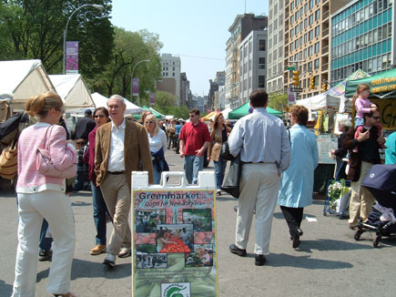 Shoppers stroll through the farmers' market in Manhattan's Union Square. The number of farmers' markets in the United States has grown rapidly in recent years, even in urban areas like New York City.
