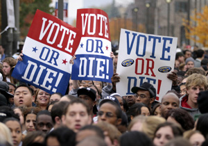 "Several thousand people attend a ""Vote or Die"" rally in Detroit shortly before the 2004 presidential election. The ""Vote or Die"" campaign, founded by Sean ""Puffy"" Combs, is credited with helping to create record levels of voter turnout among African-American youth in that election."