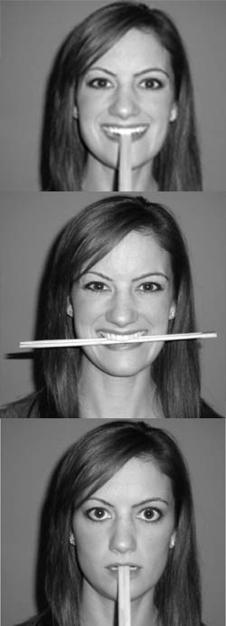 From top: Examples of the fake smile, genuine smile, and neutral expression participants had to imitate in the study (with help from chopsticks).