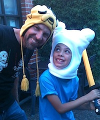 The author and his son modeling their Halloween costumes.
