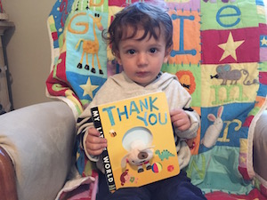 """Researching the science of gratitude and how it affects children has inspired Shuka Kalantari to start teaching her son to say """"thank you"""" (even though he can't talk yet)."""