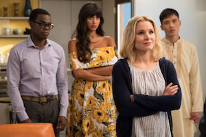 "Chidi, Tahani, Eleanor, and Jason in ""The Good Place."""