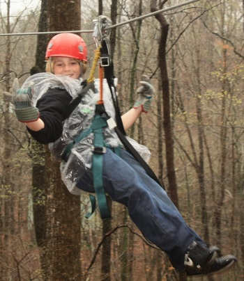 Wayne (11), on our first ziplining adventure (at North Georgia Canopy Tours in Lula, GA)
