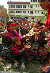 Help for the poor at a Tibetan Buddhist monastery in Nepal.